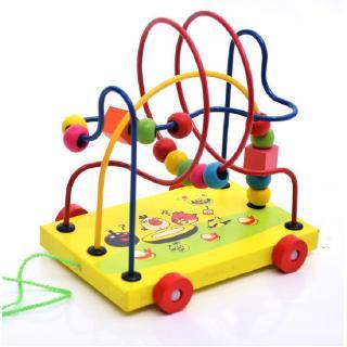 Kagonk Đồ chơi xe kéo luồn hạt cho bé - Chất liệu gỗ - Rèn luyện kỹ năng khéo léo kiên nhẫn cho trẻ thumbnail