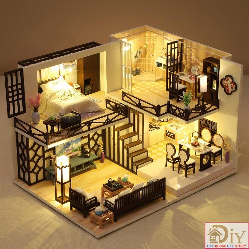 Mô hình nhà búp bê lắp ráp bằng gỗ DIY NHÃ HƯƠNG CƯ (Kèm 2 bình keo + MICA + CÓT NHẠC) – Quà tặng sinh nhật tự làm
