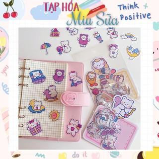Set 40 stickers hình gấu dễ thương pvc chống nước - MiuSua