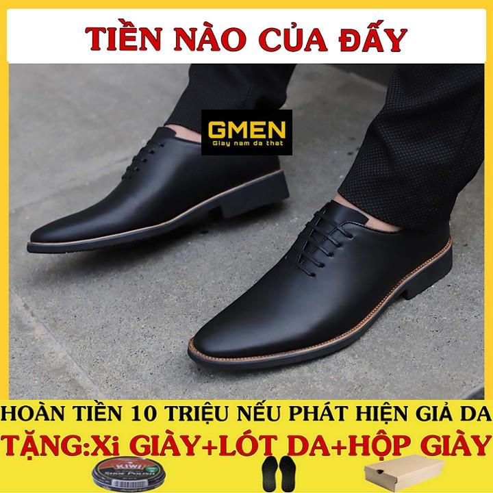 Giày tây nam cao cấp da bò mềm mại đế cao su êm chân phong cách trẻ trung lịch lãm GM789
