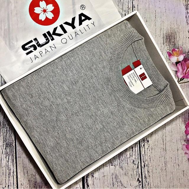 [Freeship 99k] Áo len nam Sukiya cổ tròn xám mềm mịn