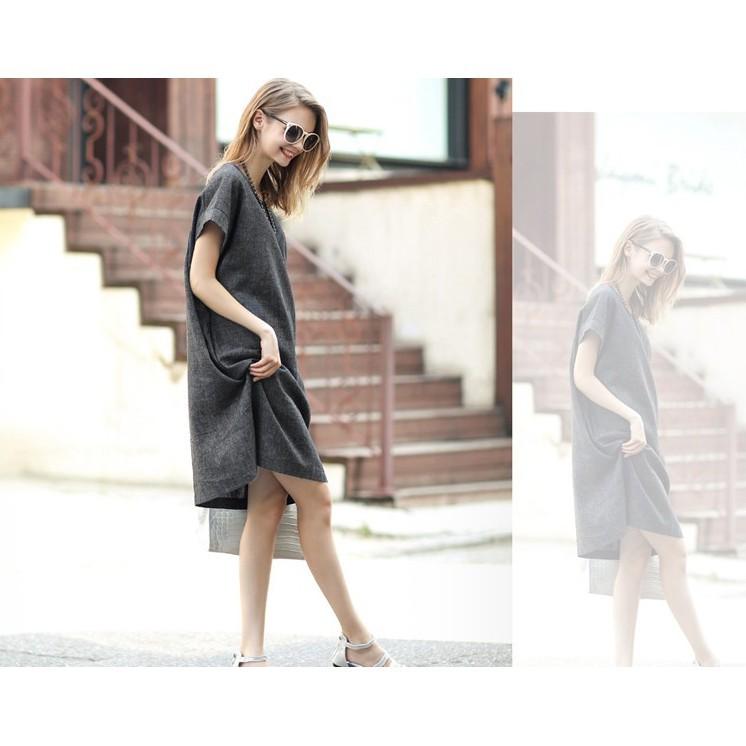 Váy suông công sở màu ghi - DAMNU19.0005