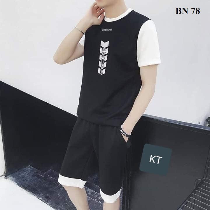 Bộ Quần Áo Thun Nam Tay Ngắn In ở Ngực In Nhiệt -Thời Trang Hè  - Set quần áo thun cho nam