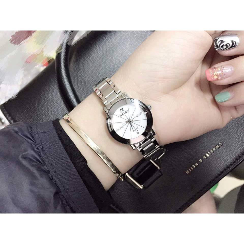 Đồng hồ nữ Halei mặt trắng dây trắng cực đẹp (Có side nam)