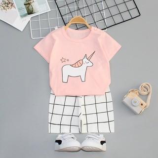 Bộ quần áo trẻ em cộc kẻ thun lạnh thêu họa tiết cho bé trai và bé gái từ 1-4 tuổi [ Hàng Chuẩn Loại 1 ]
