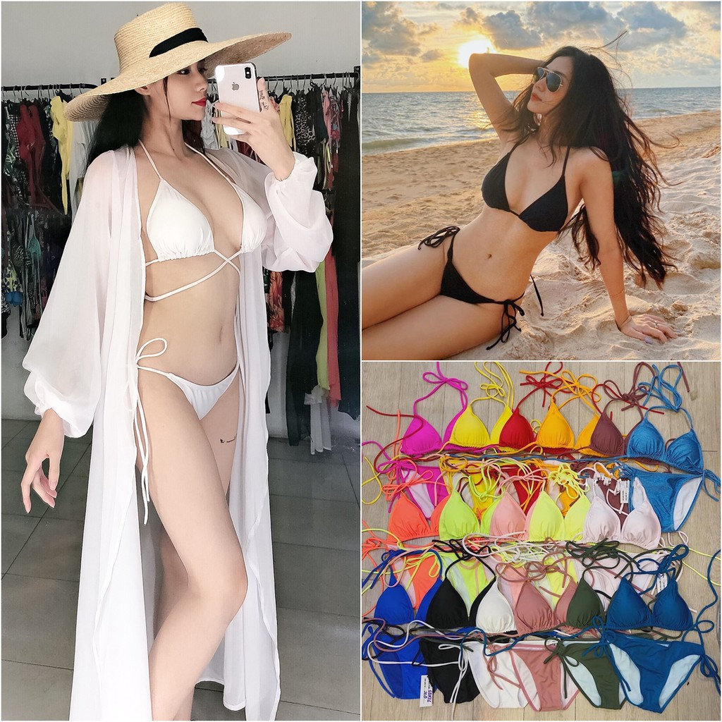 Bikini 2mảnh tam giác (có bán áo choàng) 12 màu - bikini da báo sexy quyến rũ body