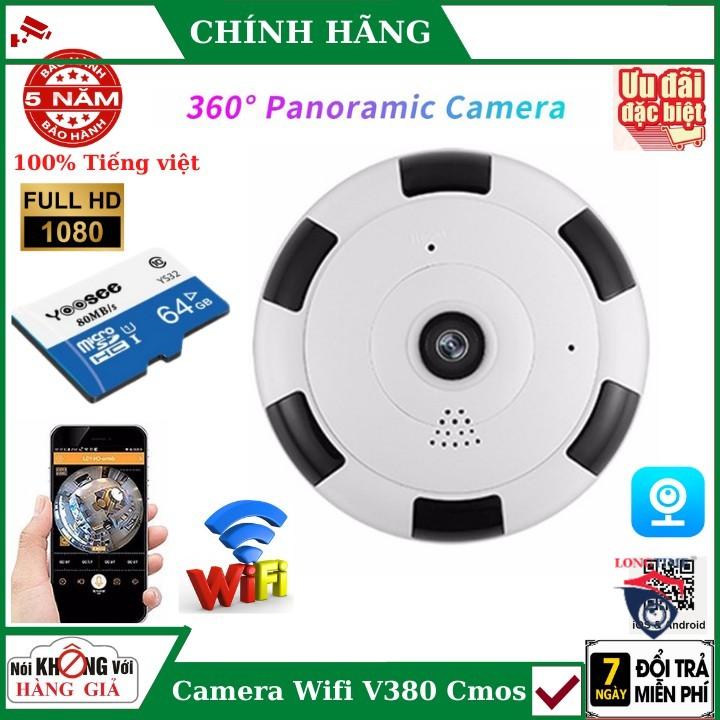 Camera Wifi V380 HD 1080P không dây wifi góc rộng 360 cảm biến CMOS có tầm nhìn đêm cho gia đình , camera v380 , camera