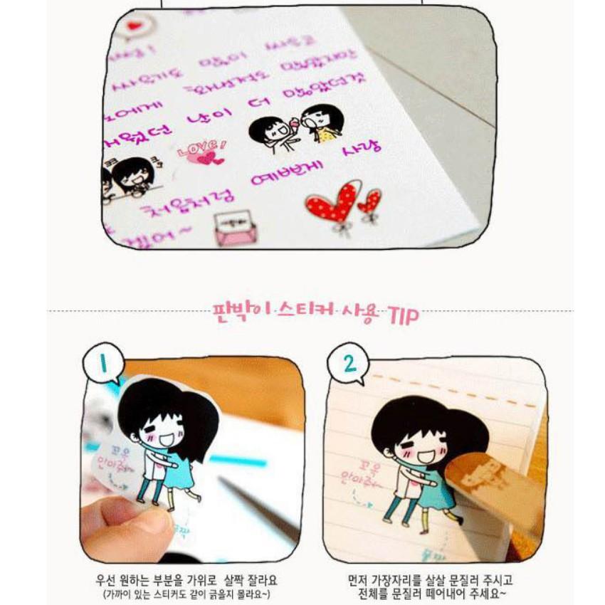 [⚡️ Sale ⚡️] văn phòng phẩm Set 5 vỉ sticker tình yêu dễ thương   Bán Chạy