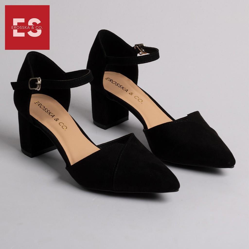 Giày cao gót Erosska thời trang mũi nhọn phối dây gót vuông cao 5cm màu đen _EK002