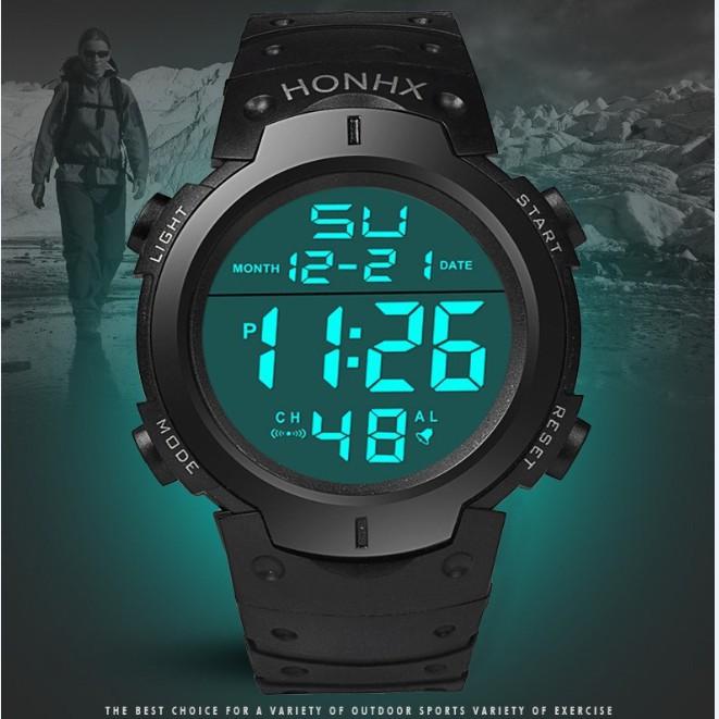(wa) นาฬิกาข้อมือดิจิตอลแฟชั่นมีไฟ led มัลติฟังก์ชั่นสไตล์ธุรกิจ