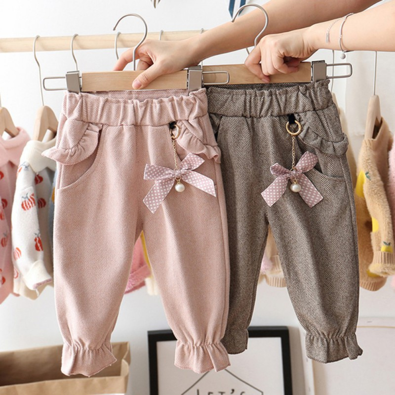 Babyworld.Kids Girls Cotton Solid Color Pants Baby Bow Decoration Trousers Bottoms