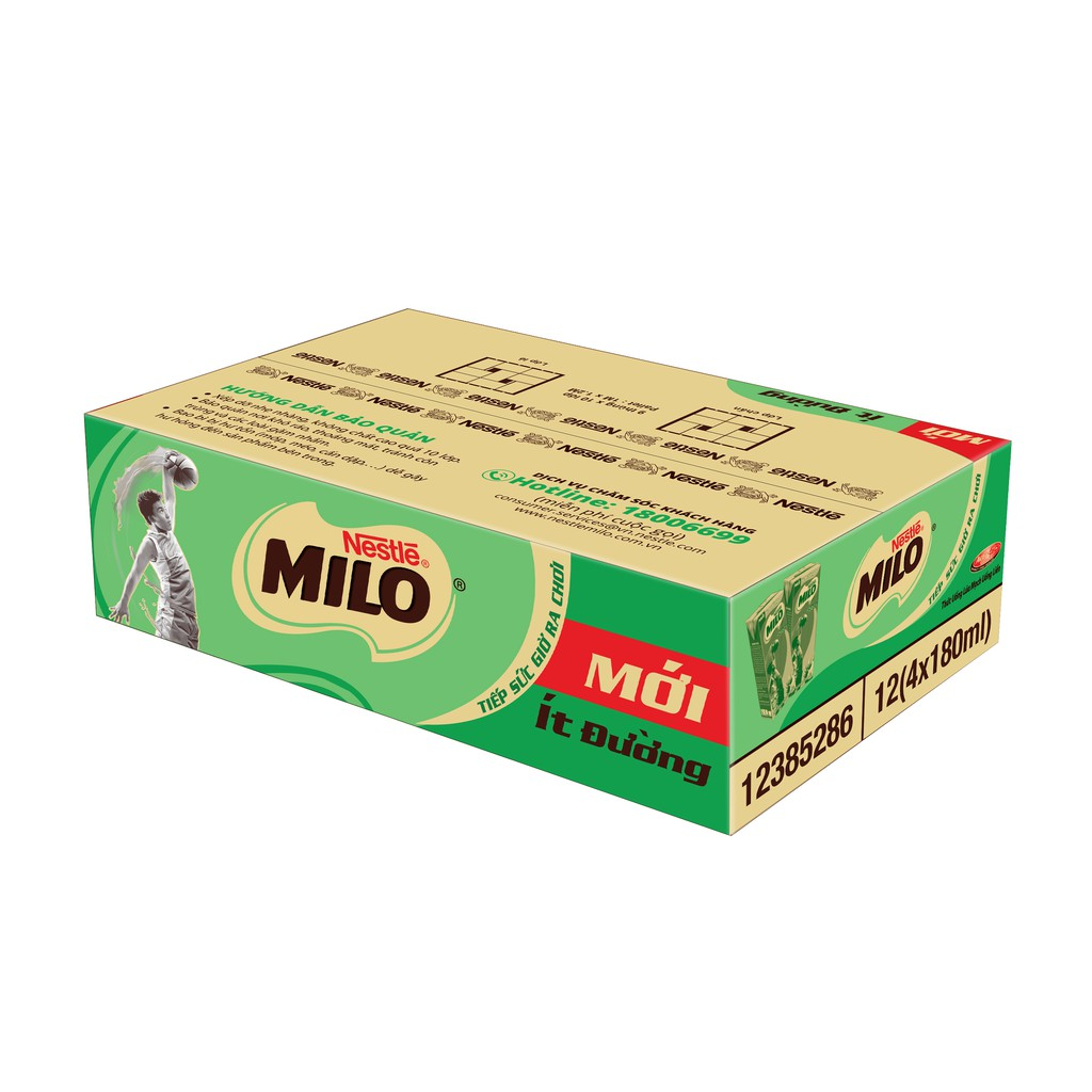 Hình ảnh [Mã GRO1NEST19 giảm tối đa 35K đơn 150K] Thùng Thức uống lúa mạch uống liền Nestlé MILO ít đường 48x180ml-0