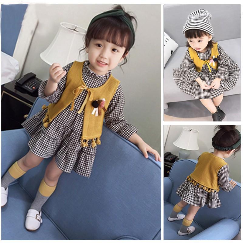 ✨puppyandkitty✨ Autumn Kids Girl Casual Princess Lattice Dress + Vest Clothes Set