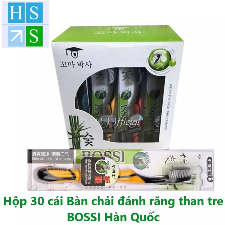 Hộp 30 cái Bàn chải đánh răng than Tre BOSSI 921 Cao cấp Hàn quốc