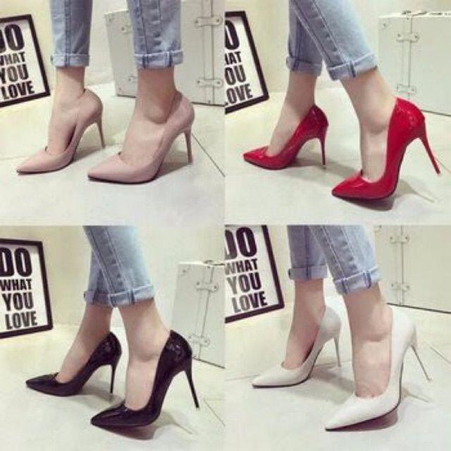 Giày cao gót da bóng mũi nhọn gót nhọn 7-10p siêu chảnh đế chắc chắn đi cực thích