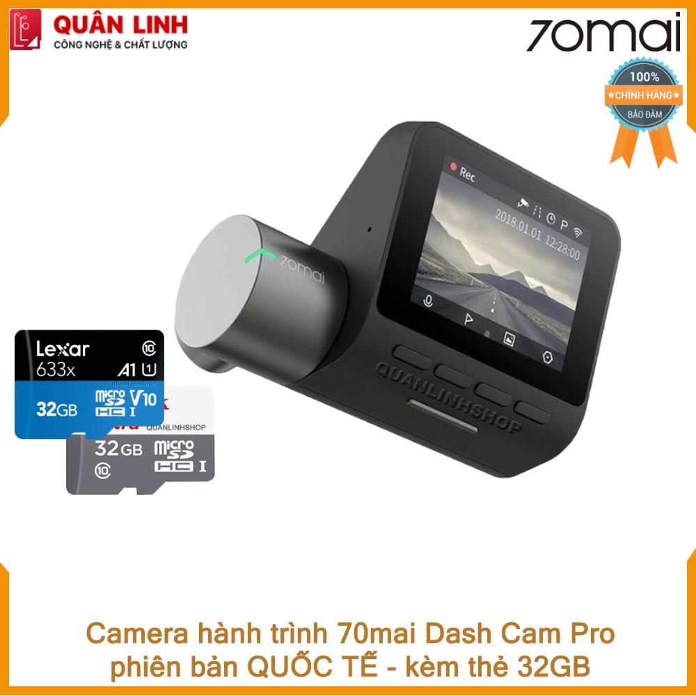 Camera hành trình Xiaomi 70mai Dash Camera Pro - phiên bản Quốc tế kèm thẻ 32GB