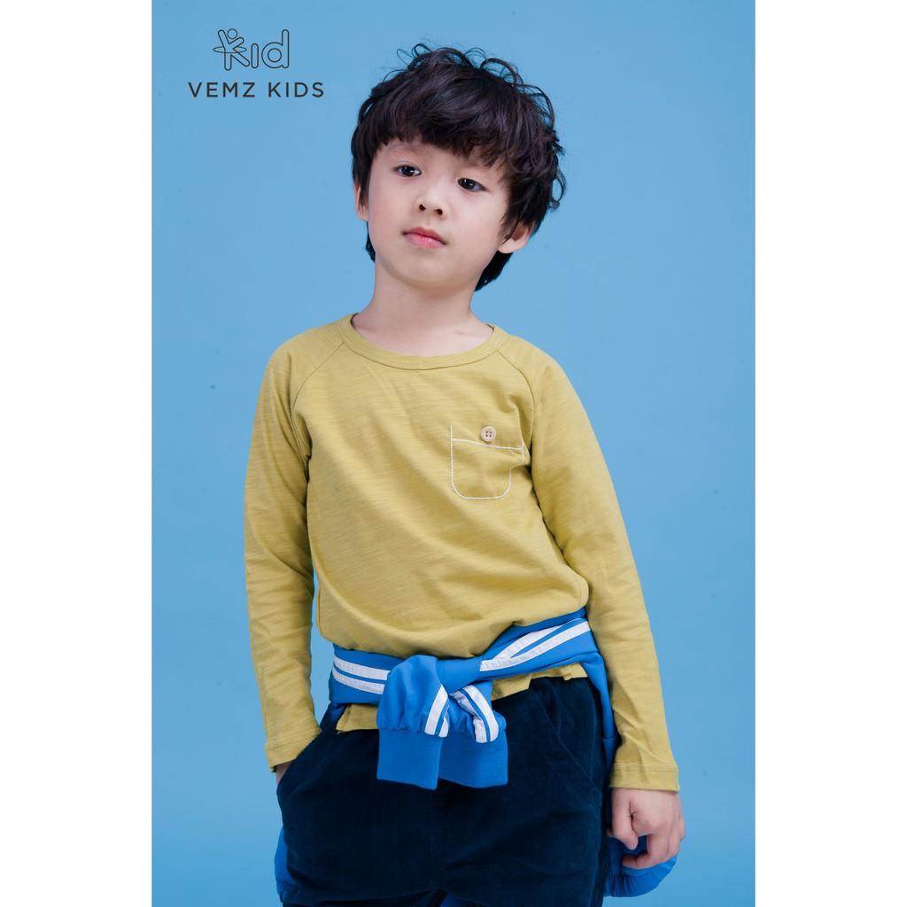 Áo dài tay túi ngực cho bé trai bé gái (từ 1 - 8 tuổi) VEMZKIDS
