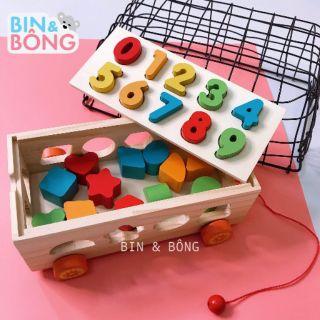 Đồ chơi gỗ xe kéo thả hình khối và học số đếm