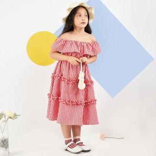 Váy đầm đỏ cho bé gái đẹp, xinh, cao cấp Econice1-6. Size 5, 6, 7, 8, 10 tuổi mặc mùa hè