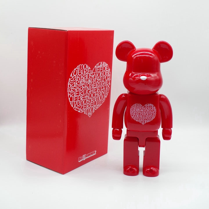 Action Figures Hobbies Toy 400 % Bearbrick Red Heart Loving Style