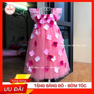 Váy cánh tiên ❤️FREESHIP❤️ Váy cánh tiên hồng cam đính hoa tú cầu cho bé gái 0 đến 6 tuổi