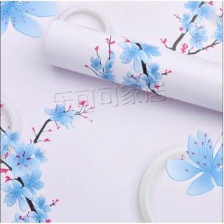 Yêu ThíchDECAL 1M PVC giấy dán tường khổ 45cm (có sẵn keo dán) – HOA MAI XANH DT255