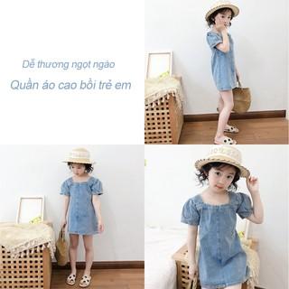 Đầm jean tay ngắn phồng thời trang mùa hè cho bé gái