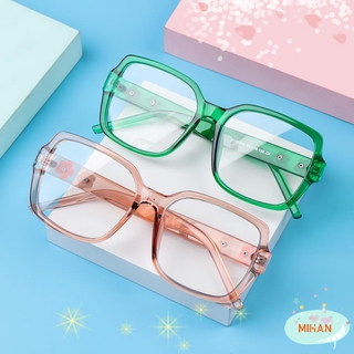 MIHAN1 Fashion Anti-Blue Light Glasses Vintage Ultra Light Frame Flowers Eyeglasses Women Portable Oversized Computer Square Eye Protection