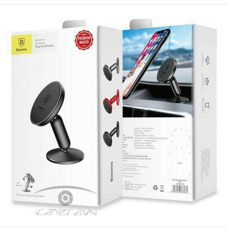 Bộ đế giữ điện thoại nam châm Baseus Bullet Magnetic LV363 dùng cho xe hơi Bullet An on-board Magnetic Bracket Car Mount