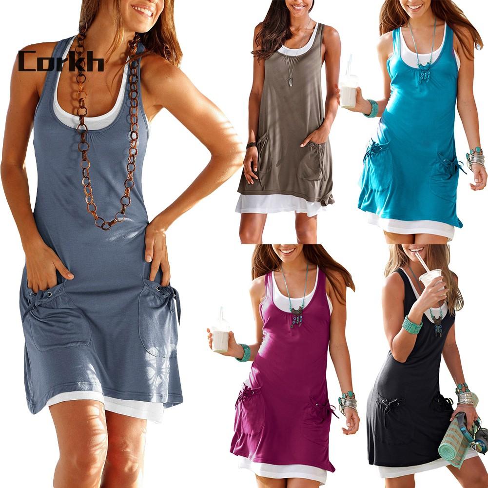 3405044652 - Bộ 2 đầm ngắn sát nách màu sắc cơ bản có size lớn cho nữ