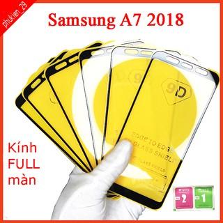 Kính cường lực Samsung A7 2018 full màn hình, Ảnh thực shop tự chụp, tặng kèm bộ giấy lau kính taiyoshop2 thumbnail