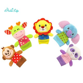 HAPPY MONKEY 5 Pcs/Set Baby Plush Toys Cartoon Animal Kid Family Interactive Dolls Finger Toy Gift