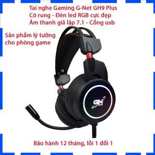 Tai nghe chụp tai gaming G-Net GH9 Plus 7.1/Có rung/Đèn led RGB/Âm thanh giả lập 7.1/Chính hãng/Bảo hành 12 tháng