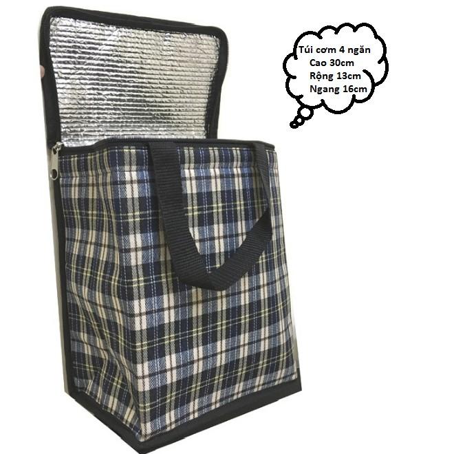 túi giữ nhiệt đựng cơm 4 ngăn-- Kích thước: 16 x 13 x 30 cm (Dài x Rộng xCao)