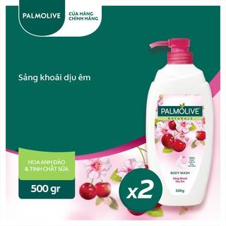 Bộ 2 Sữa tắm Palmolive sảng khoái dịu êm 100% chiết xuất từ hoa anh đào 500gSữa tắm
