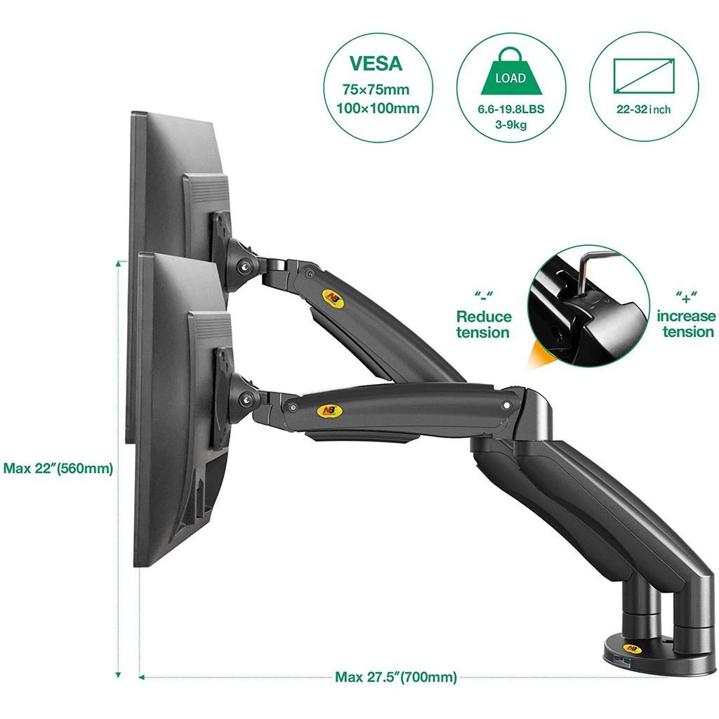 Bảng giá Giá treo hai màn hình máy tính NB - F195A (22-32 inch) tích hợp 2 cổng USB 3.0 Hàng Nhập Khẩu Phong Vũ