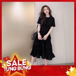 Váy bầu thời trang thiết kế dáng suông chất cotton phối đũi voan cao cấp V220 thumbnail