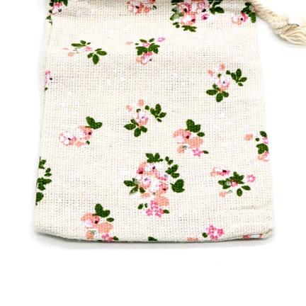 Túi vải bố linen mềm hoa hồng họa tiết vintage có dây rút kích thước 10x14cm - namimi