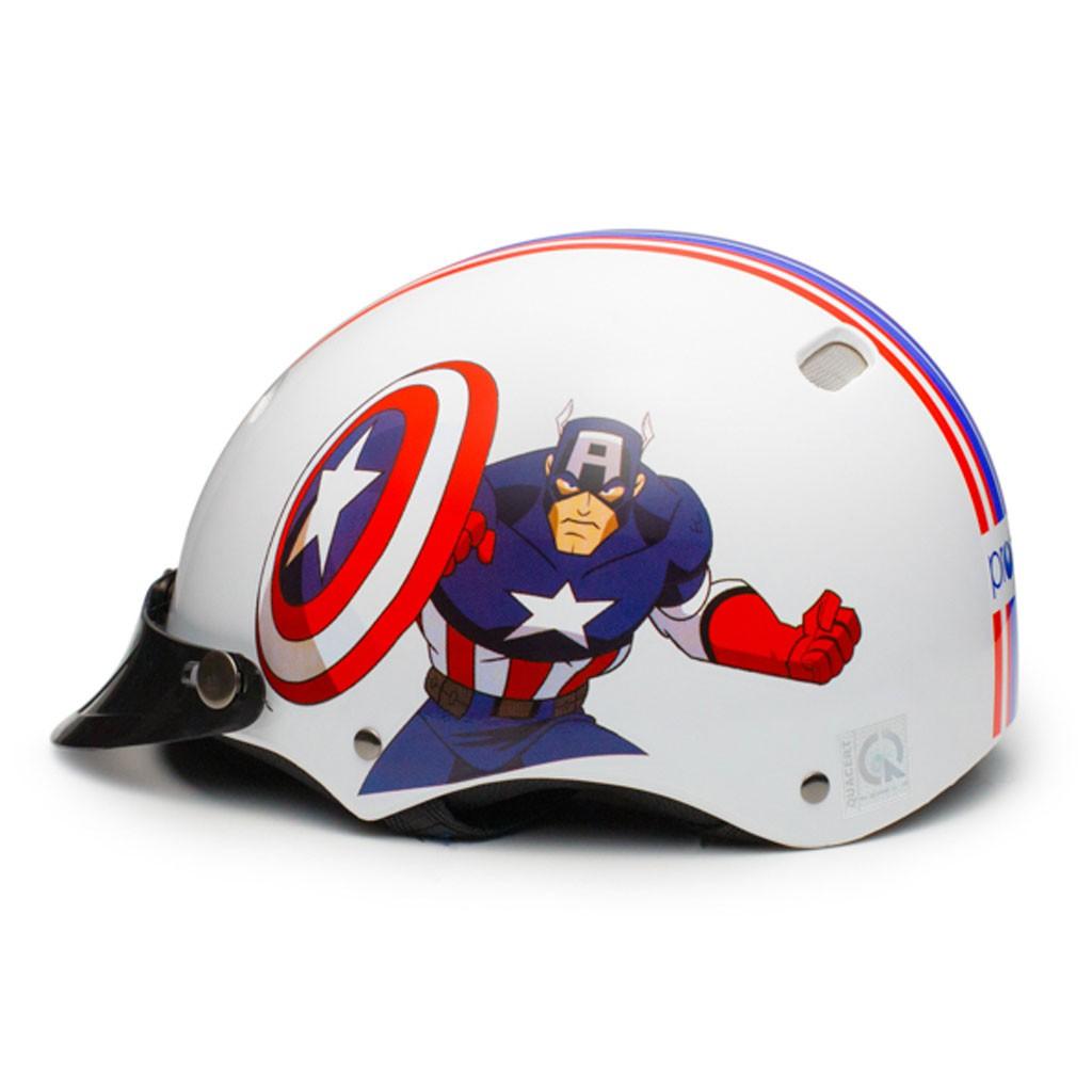 Nón Bảo Hiểm Trẻ Em 1/2 Đầu Protec Kitty, Họa Tiết Siêu Anh Hùng Captain American