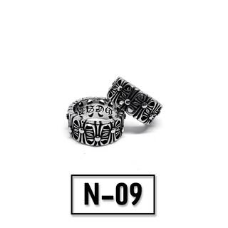 Nhẫn titan Chrome Heart bản dày nổi – Mẫu N-09