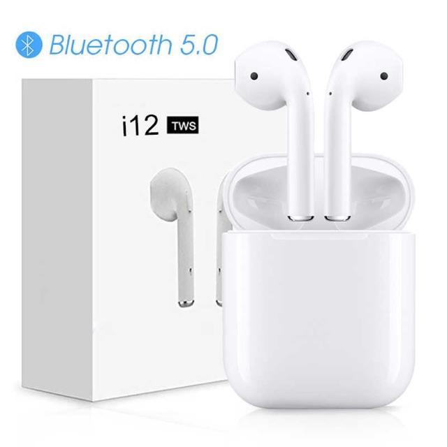 Tai Nghe Không Dây Bluetooth 2 Tai i12 TWS (Tặng Kèm Hộp Silicon Màu)