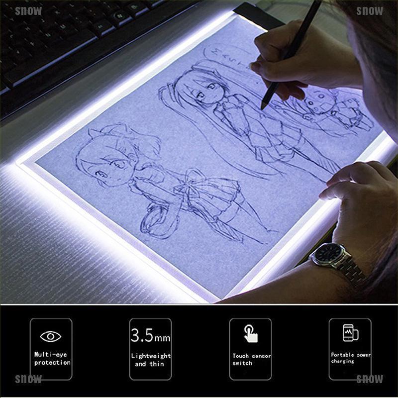 [snow]A5 LED Art Stencil Board Light Box USB Tracing Drawing Table Adjustable Pad