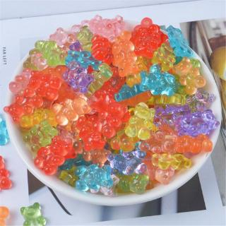 ✿INN 12Pcs Mini Bear Beads Rubber Soft Slime Charms Plasticine Slime Accessories Beads For Crystal Mud Fluffy Slime
