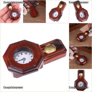 Coagulatepower 1/12 Dollhouse Miniature Vintage Wooden Red Clock Furniature Accessories