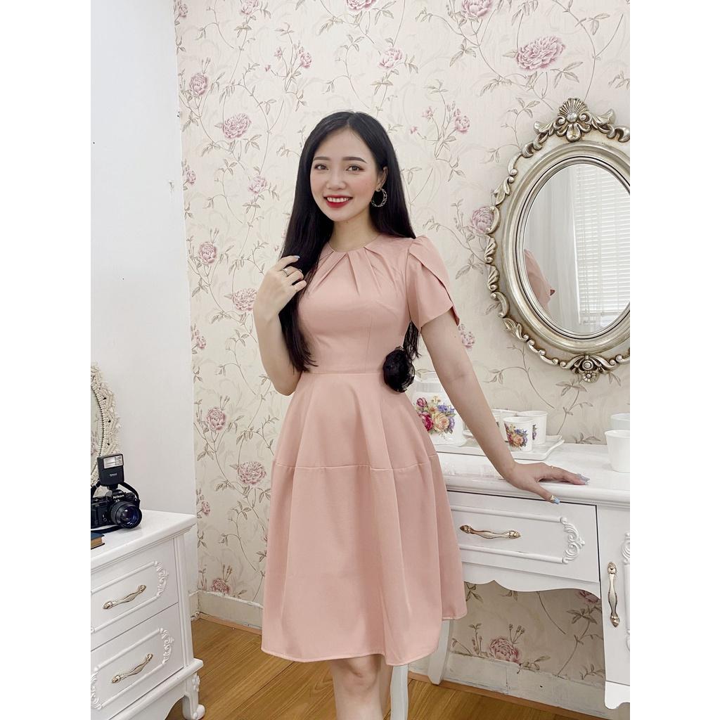 Mặc gì đẹp: Sang chảnh với Đầm váy thiết kế tiểu thư cao cấp dự tiệc sang chảnh, đẹp, cổ cách điệu đính hoa eo mặc đi làm, đi chơi TV03-HTDESIGN