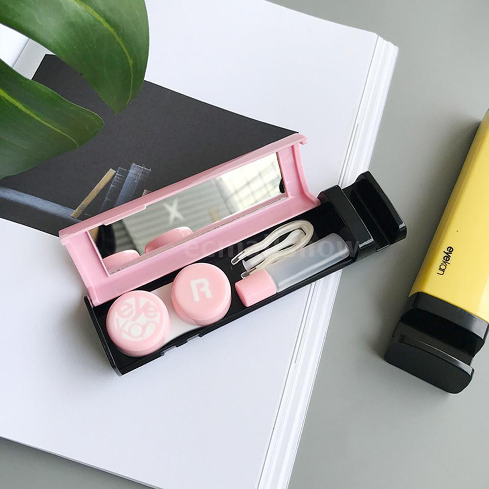 Portable Contact Lens Case Kit With Mirror Multi-use Contact Lens Mate Box Container Cell Phone Holder Eyewear Accessori