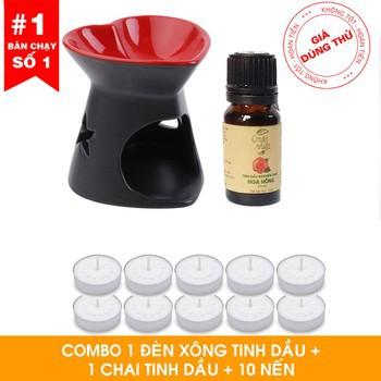 Combo đèn xông tinh dầu + 1 tinh dầu 10ml + 5 nến