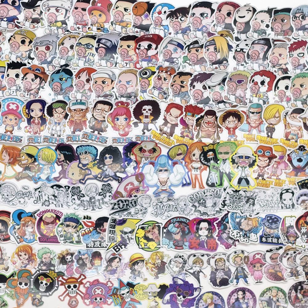 Sticker nhám onepiece set hơn 200 hinh· dán nón bảo hiểm, laptop, vali, sách, vở,.. size nhỏ 3-5cm
