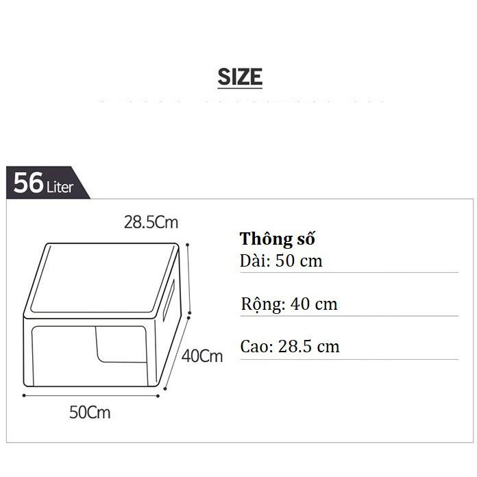 TÚI ĐỰNG QUẦN ÁO KHUNG THÉP 56L- HỘP ĐỰNG QUẦN ÁO 56L- LIVING BOX 56L