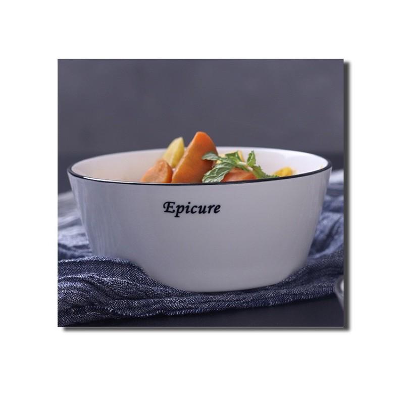 LẺ_ Bộ bát đĩa sứ trắng cao cấp phong cách Bắc Âu, bộ bát đĩa sứ trắng viền đen cao cấp, đồ dùng bàn ăn